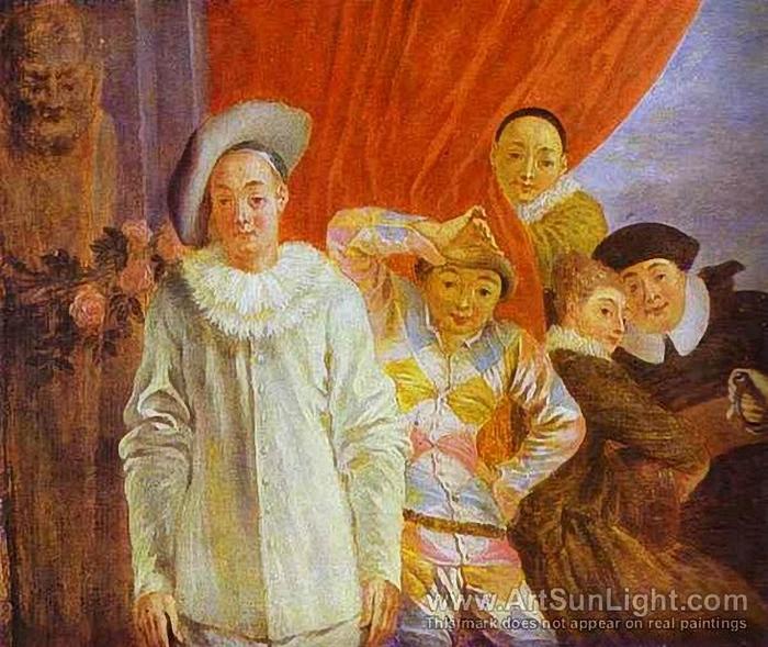 22 Watteau, Jean-Antoine ( 1684-1721) Arlequin, Pierrot and Scapin (700x589, 335Kb)
