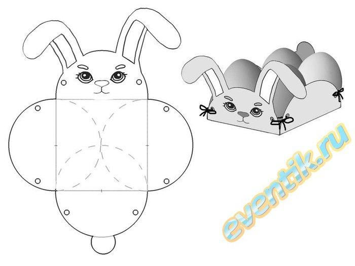 Пасхальный кролик из бумаги.Шаблон и описание.