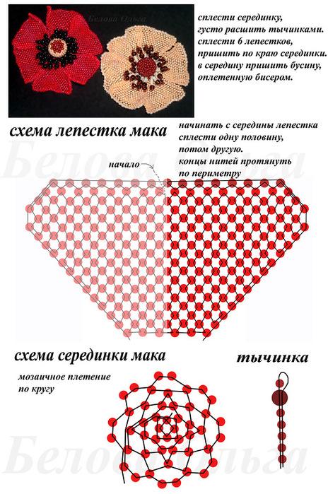 Схема плетения бисером маков
