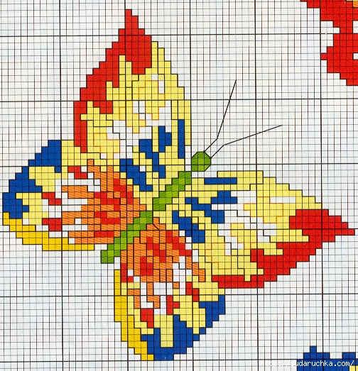 <бабочки - вышивка крестом.