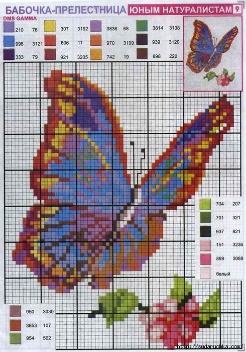 Вышивание.  Схемы вышивки бабочек.