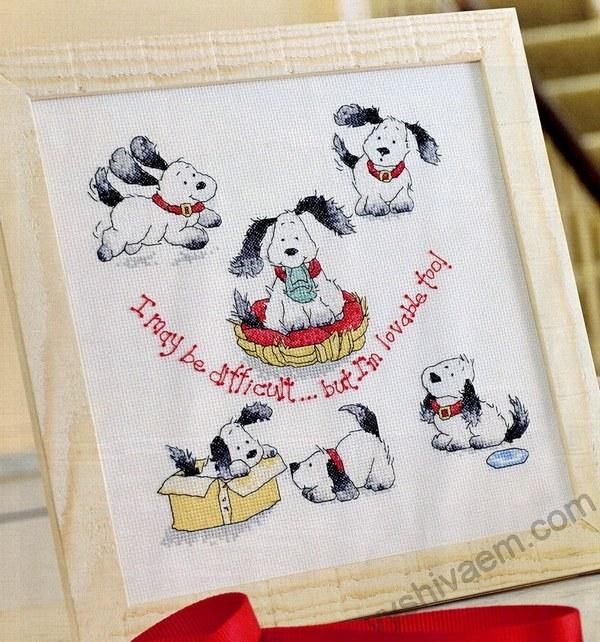 вышивка крестом собаки схемы