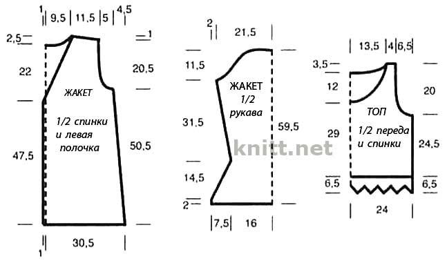 Вязать по схеме 2., на которой приведены только лиц. р., в изн. р. петли вязать по рисунку, накиды.