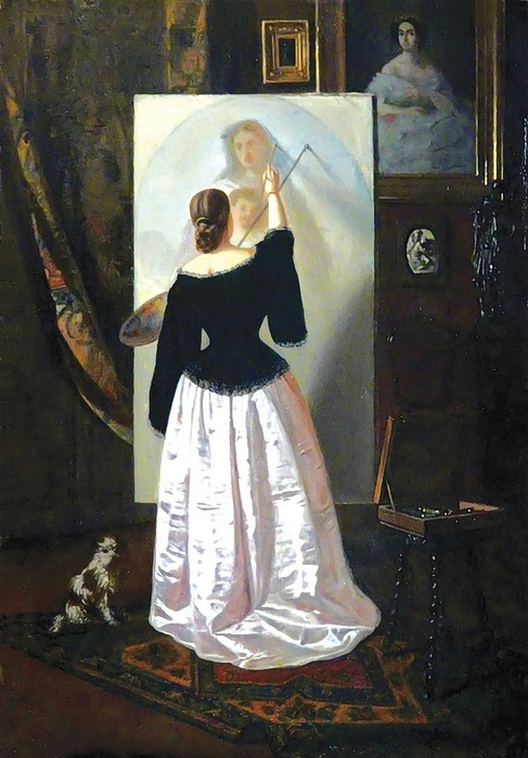 Woman Painting by Theodor Aman (March 1831 - August 1891 (487x700, 262Kb)