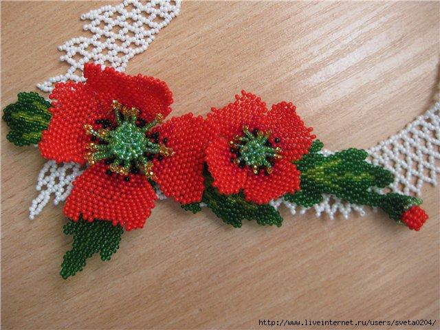 Как сплести красивый цветок из бисера.  Схема плетения красного мака из бисера.