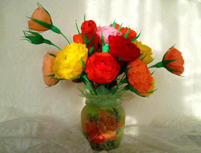 Как сделать цветы из флористической бумаги