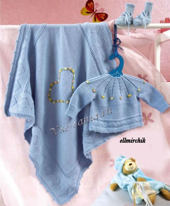 Свитер для новорожденного спицами 9