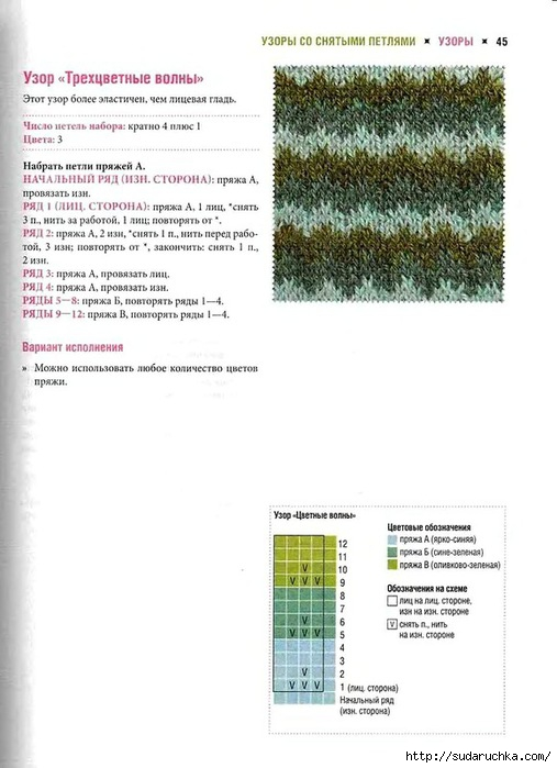Вязание спицы двух трехцветное