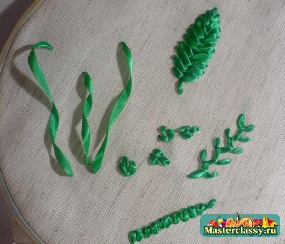 Вышивка лентами листьев мастер класс