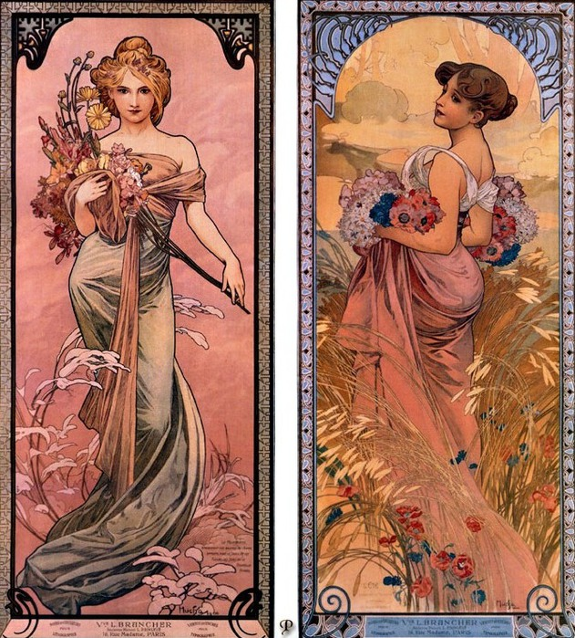 Alphonse Maria Mucha: pcal am0600 the seasons spring-summer 1899.