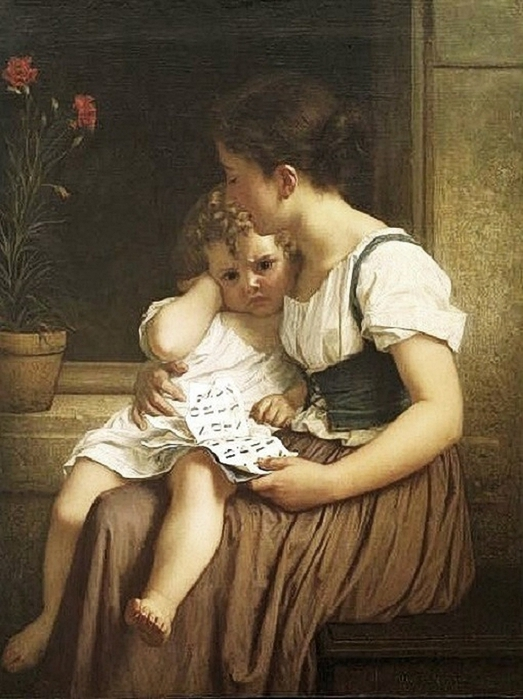 Hugues Merle (French artist, 1823–1881) Woman and Child (523x700, 251Kb)