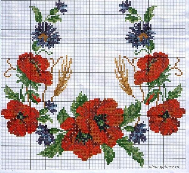 Вышивка с маками и цветами