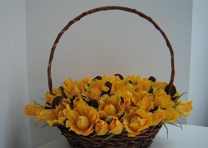Цветами из конфет мастер класс