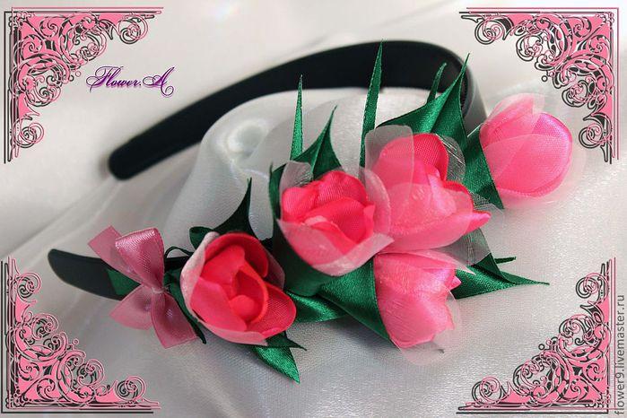 Ободок с тюльпанами