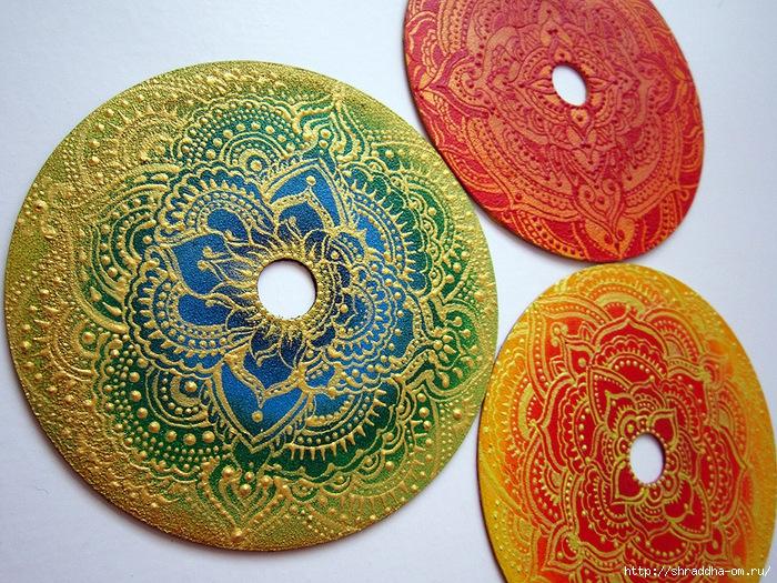 Золотое на зеленом, мандала на CD, автор Shraddha, 1 (700x525, 449Kb)