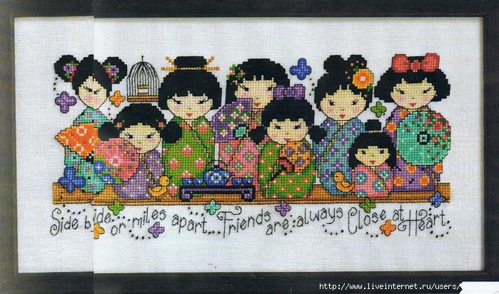 Схема вышивки Куколка кокэси или японская матрешка - скачать бесплатно Вышивай крестиком.