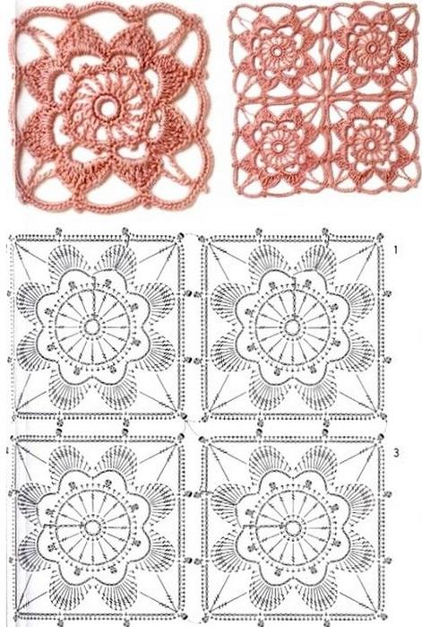 Вяжем цветочный мотив крючком 1,5. В качестве пряжи лучше всего подойдет 100% хлопок.  Ниже вы увидите схему вязания...