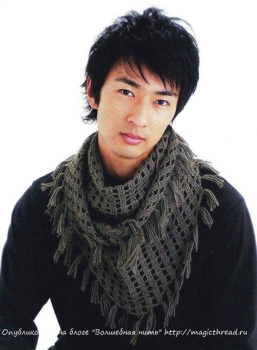 Как связать мужской шарф крючком 10