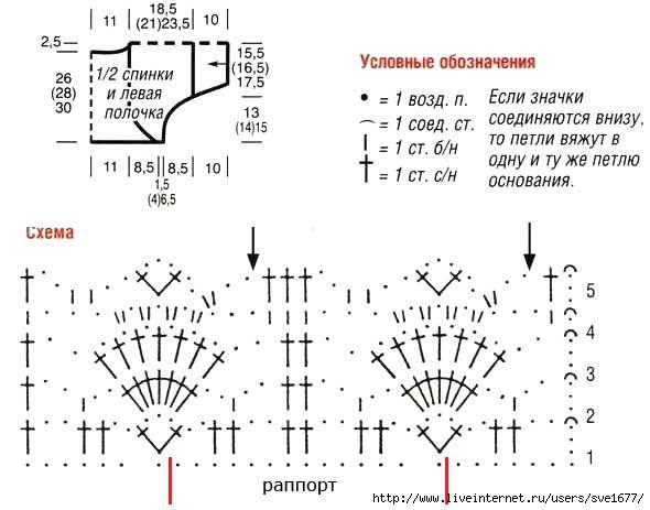 Ажурное болеро описание и схемы