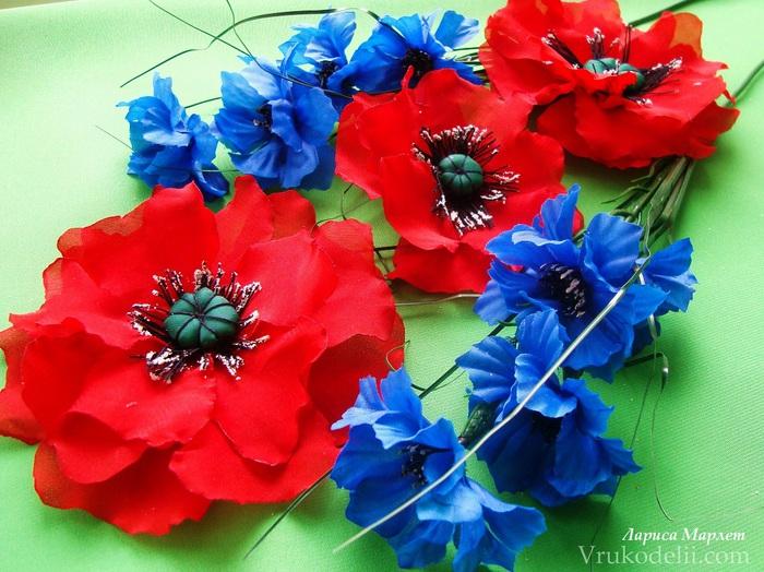 Цветы из ткани мак своими руками