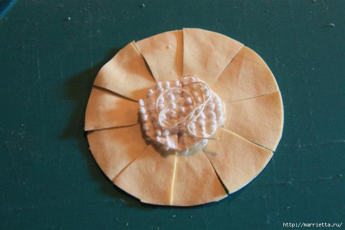 Ароматные кофейные подсолнухи из ткани. Мастер-класс (2) (700x466, 100Kb)