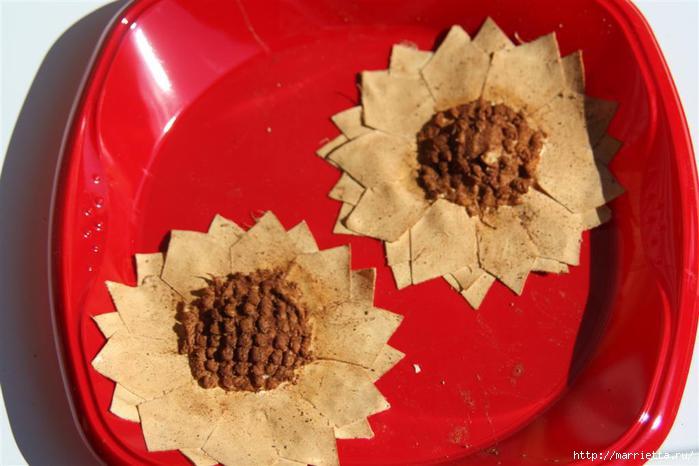 Ароматные кофейные подсолнухи из ткани. Мастер-класс (8) (700x466, 130Kb)