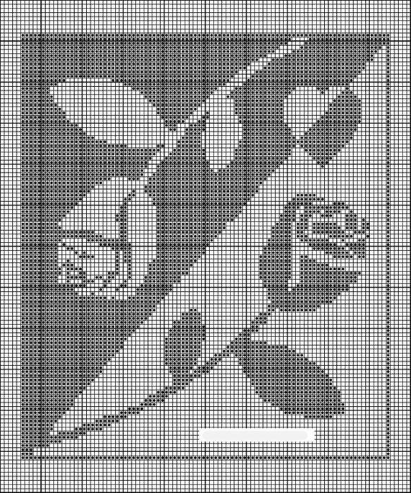 Вышивка крестиком в черно белых тонах 30