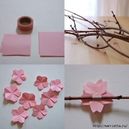 ...которую нужно разделить на несколько квадратов и далее сложить квадраты так, чтобы получились оригами цветы.