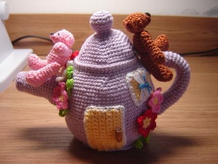 Красивые вязаные чайники.  Описание для маленького чайного набора: Чайник Низ (донышко): вязать з.