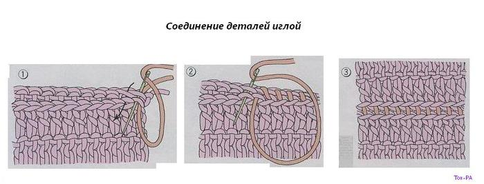Как сшить связанные спицами детали крючком