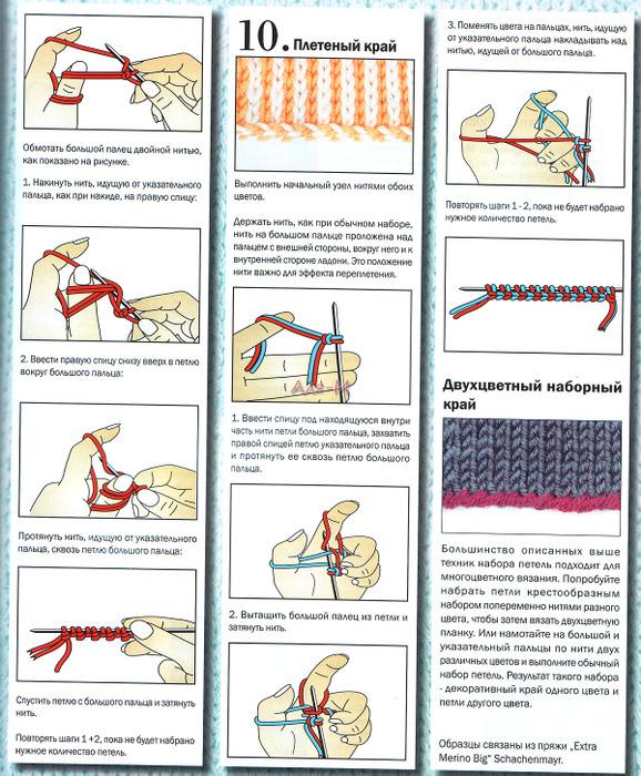 Разные способы набора петель на спицы - от простого к.