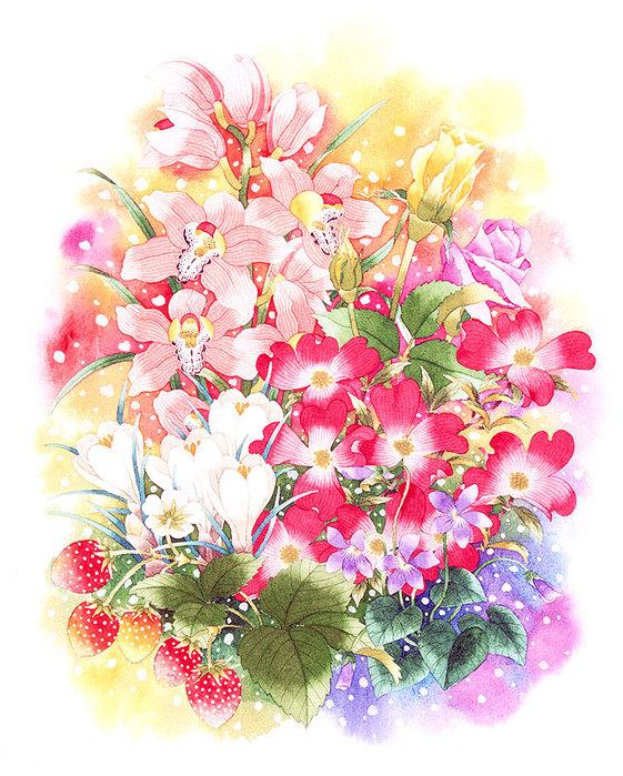 цветочные акварели Ибараги Йосиюки 19 (561x699, 159Kb)