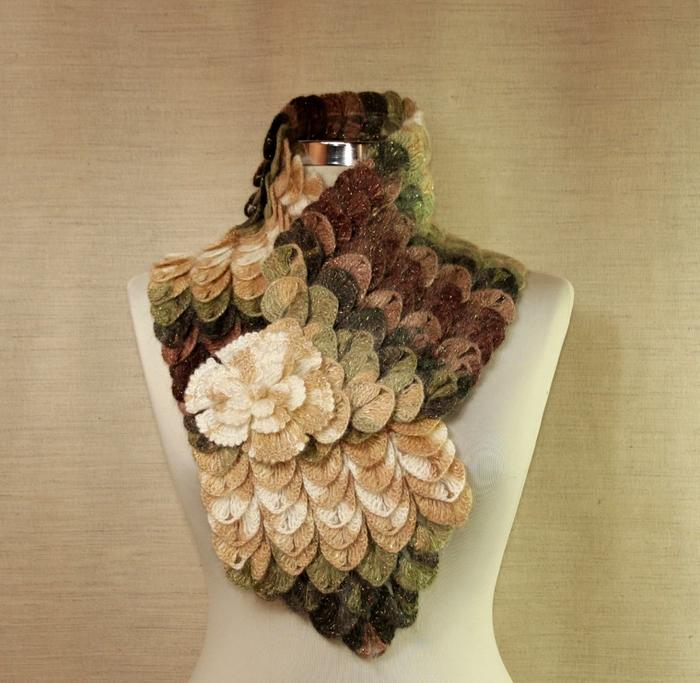 """""""鳞片""""式花纹的脖套领 - maomao - 我随心动"""