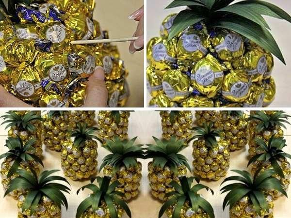 Новогодние поделки из конфет ананас