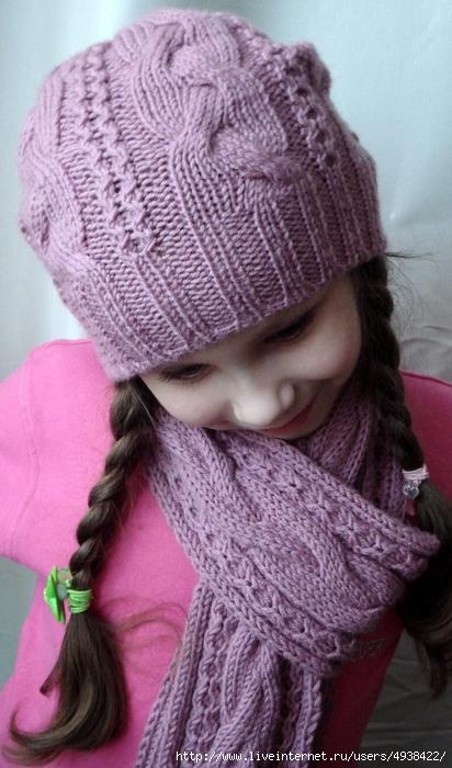 Комплект для девочки - шапочка