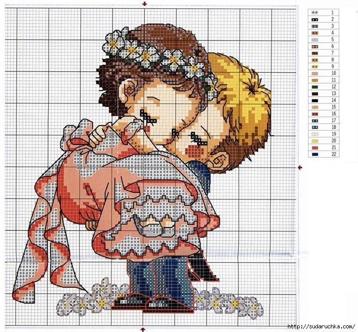 """""""Свадебные мотивы """" - вышивка крестом.  Такой симпатичной парочкой можно украсить например подушечку для колец или..."""