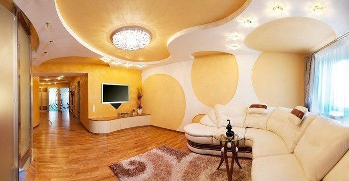 Потолки из гипсокартона в гостиной своими руками