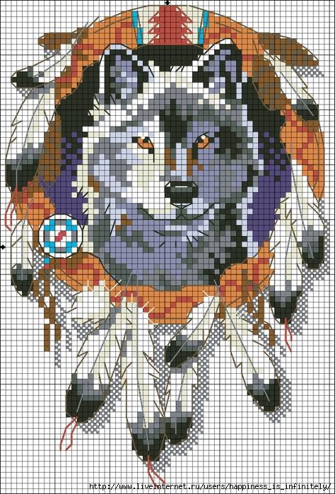 Вышивка волки схема маленькая схемы