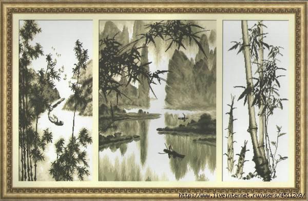 """Триптих """"Китайский пейзаж""""."""
