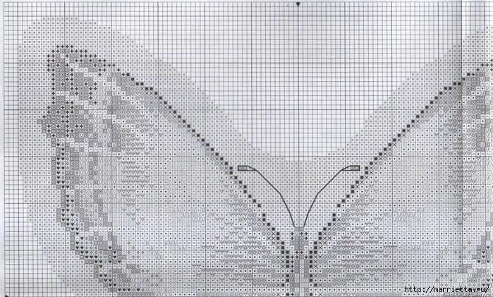 подушка бабочка, схема вышивки крестиком (1) (700x421, 327Kb)