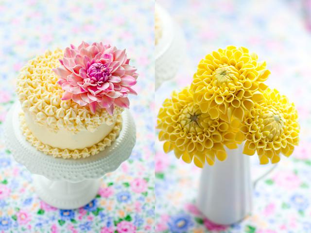 Хризантемы и георгины из сахарной мастики для украшения торта (1) (640x480, 431Kb)