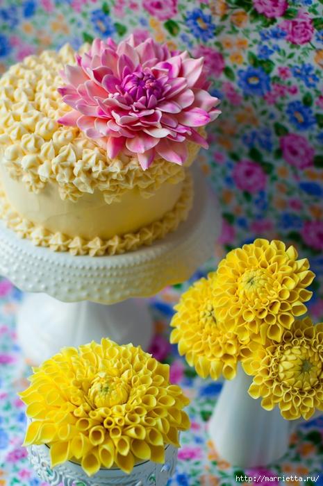 Хризантемы и георгины из сахарной мастики для украшения торта (3) (465x700, 289Kb)