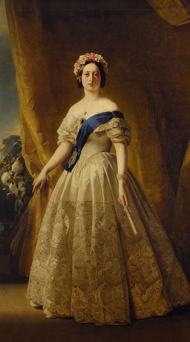 Франц Винтельхальтер. Портрет королевы Виктории, 1844-45 (390x700, 72Kb)