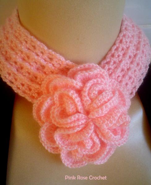 Симпатичный шарфик с цветком. Вязание крючком
