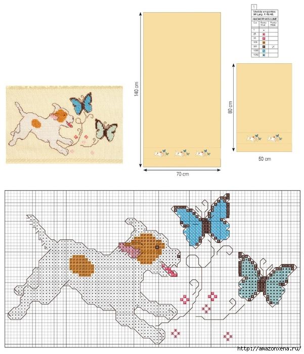 Вышивка для детского полотенца. Схема собачек (601x700, 247Kb)