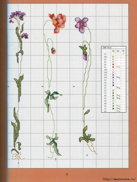 Отличный журнал вышивки Marie Barber - Cross-Stitch Florals (3) (528x700, 280Kb)