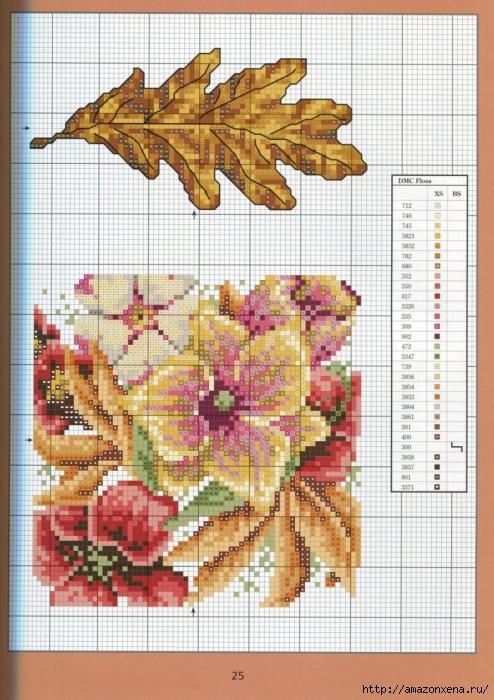 Отличный журнал вышивки Marie Barber - Cross-Stitch Florals (19) (494x700, 310Kb)