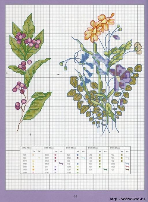 Отличный журнал вышивки Marie Barber - Cross-Stitch Florals (38) (513x700, 302Kb)