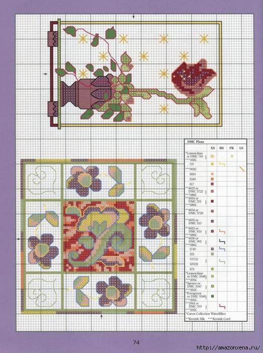 Отличный журнал вышивки Marie Barber - Cross-Stitch Florals (68) (522x700, 320Kb)
