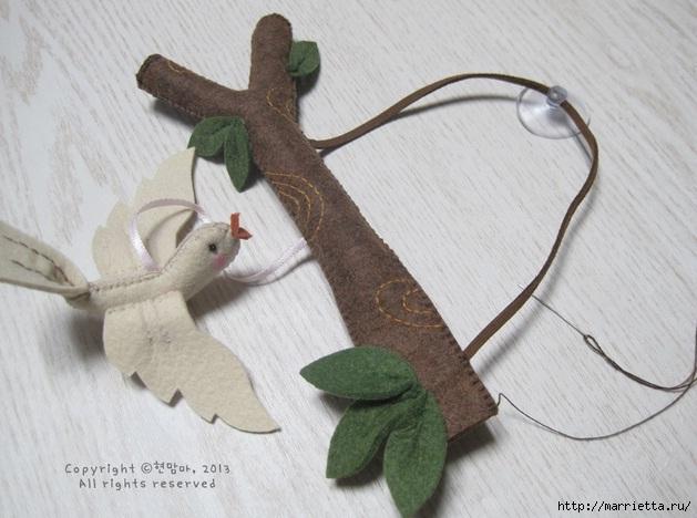 Шьем веточку с птичкой из фетра. Фото мастер-класс (18) (629x468, 171Kb)